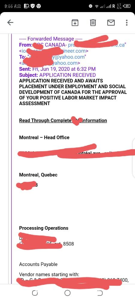 Fake job letter